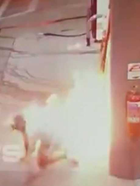 After igniting a second stream of fuel he was engulfed in flames and tried to crawl away. Picture: 7 News Sydney