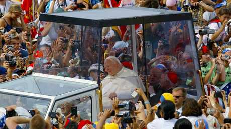 Pope John Paul II at World Youth Day in Toronto in 2002.