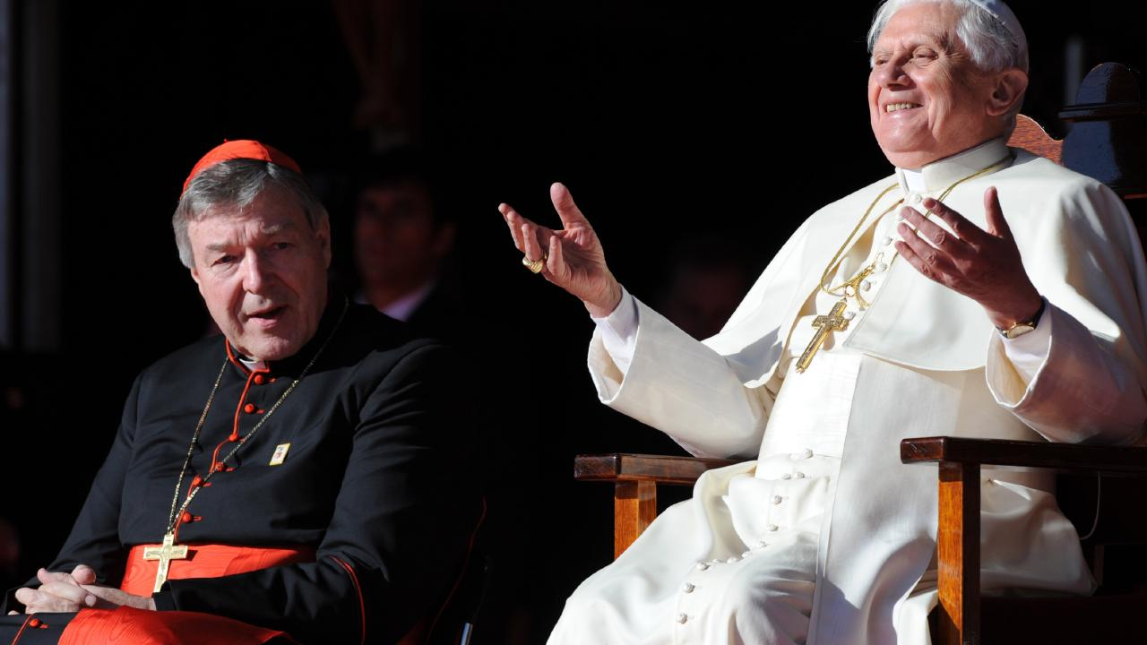 Pope Benedict XVI with Cardinal George Pell at World Youth Day 2008 that was held in Sydney. Picture: Dean Lewins/AAP