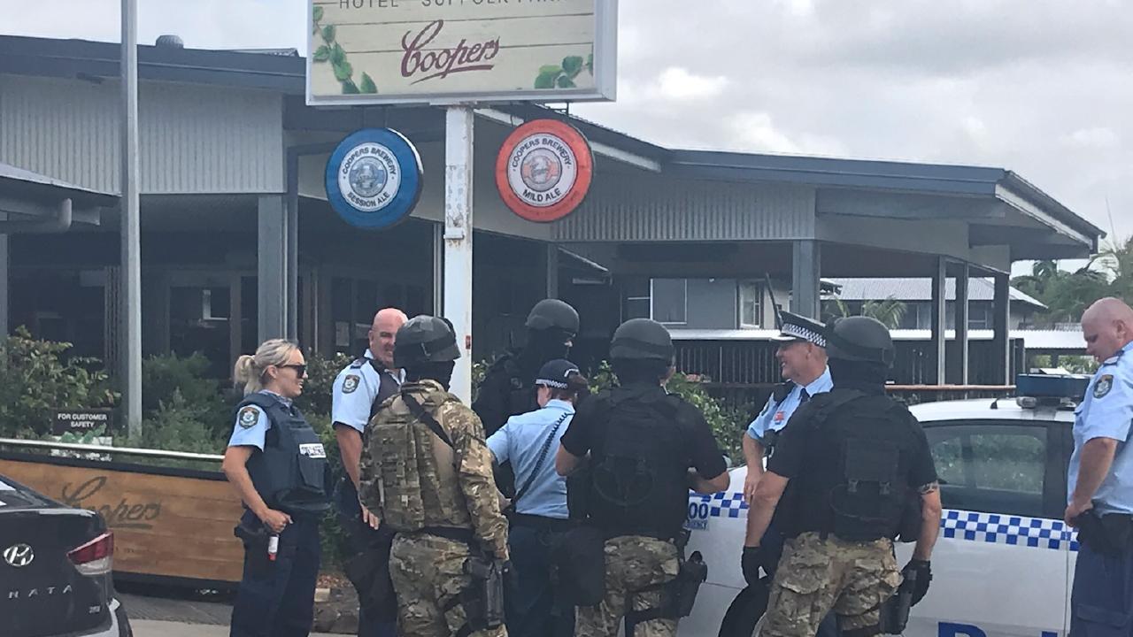 NSW police during a raid in Suffolk Park. Picture: Jane Hansen