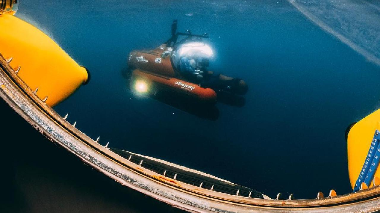 The hole was discovered in 1971 by Jacques Cousteau. His grandson, Fabien Cousteau, was part of the team who went to the bottom this month. Picture: Thomas Bodhi Wade/Aquatica Submarines
