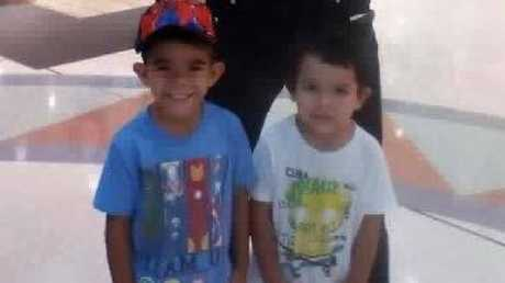 Barak, 5, and Jhulio, 3, were playing in their yard under the watchful eye of their mother before they went missing. Picture: supplied