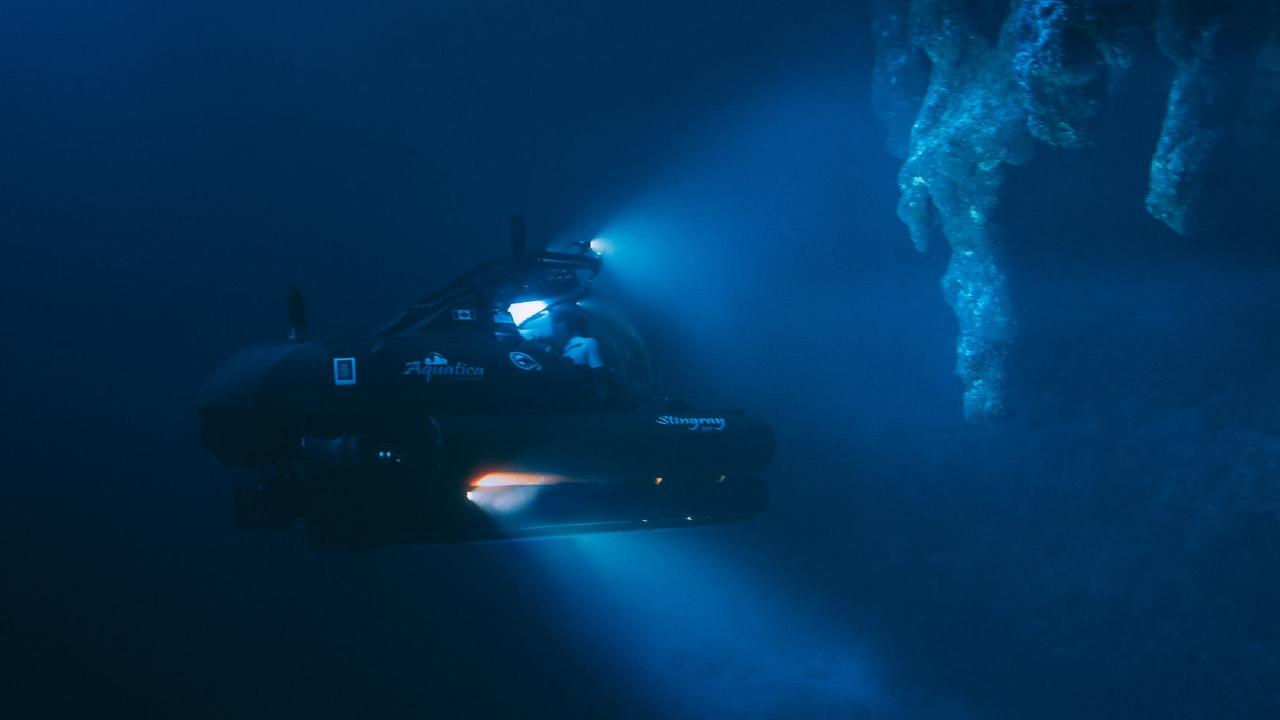 Chief pilot of the expedition Erika Bergman said the discovery of never-before-seen stalactites was exciting. Picture: Thomas Bodhi Wade/Aquatica Submarines