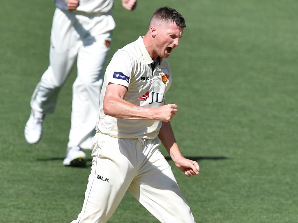 Tasmania's Jackson Bird celebrates taking the wicket of South Australia's Jake Lehmann at Adelaide Oval on Monday. Picture: AAP