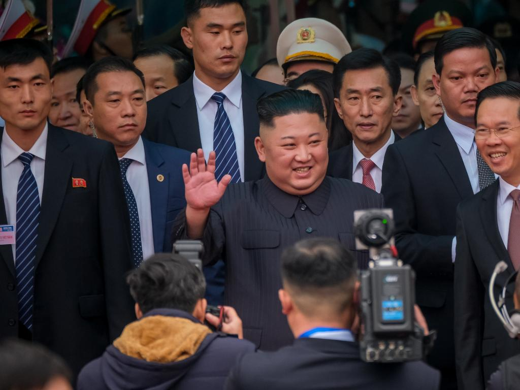 Kim Jong-un arrives by train at Dong Dang railway station near the border with China. Picture: Getty Images