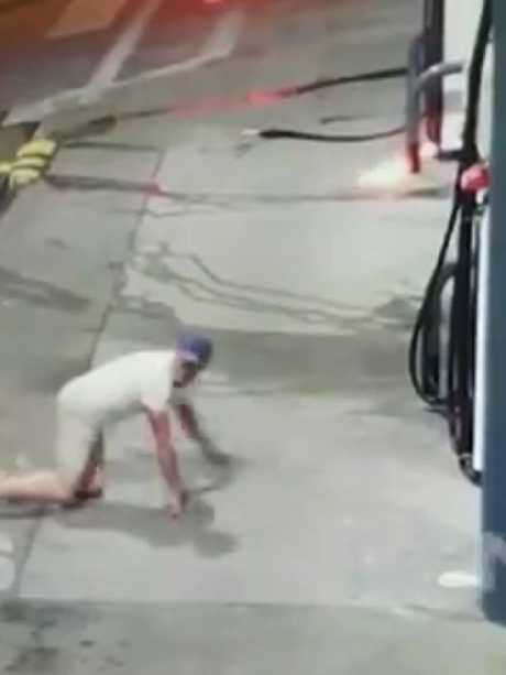 The man approached the petrol station on his hands and knees. Picture: 7 News Sydney