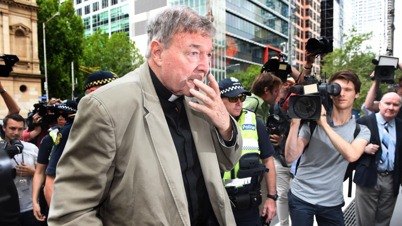 George Pell arrives at the Melbourne Magistrate Court. Picture: Tony Gough