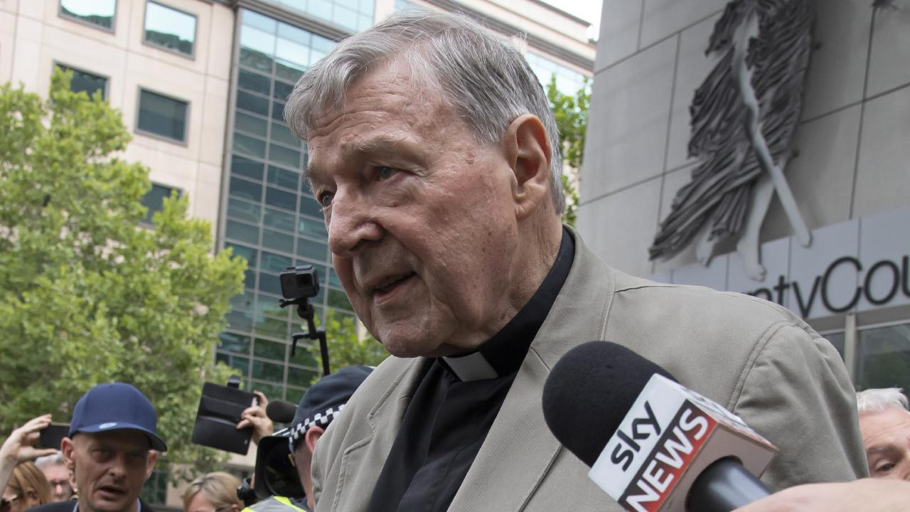 Cardinal George Pell left the County Court in Melbourne on Tuesday after being convicted of molesting two choirboys. Picture: AP/Andy Brownbill