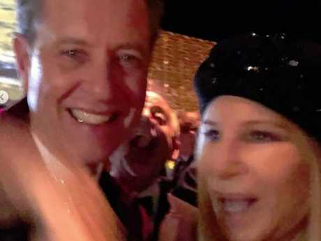 Nominee Richard E Grant met up with hero Barbra Streisand at the Vanity Fair party. Picture: Instagram