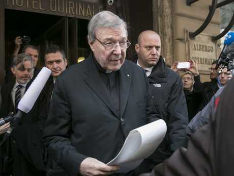 Cardinal George Pell in Rome on the fourth day of giving evidence to the The Royal Commission into Institutional Responses to Child Sexual Abuse. Picture: Ella Pellegrini
