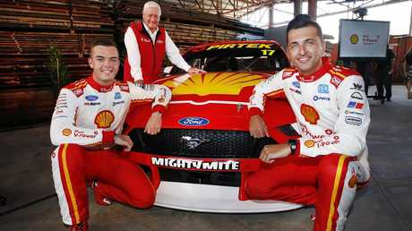 Coulthard (right) with Scott McLaughlin and Dick Johnson. Picture: David Caird
