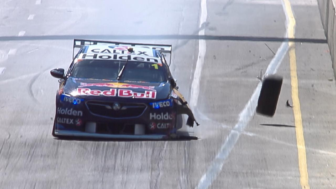 Jamie Whincup loses a tyre after hitting Turn 8 in qualifying at the Adelaide 500 in 2018. Picture: Supplied