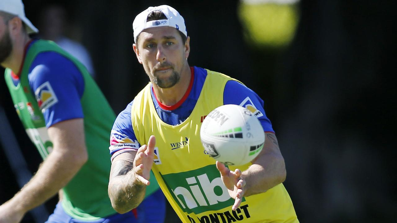 Mitchell Pearce pushes himself during Knights training.