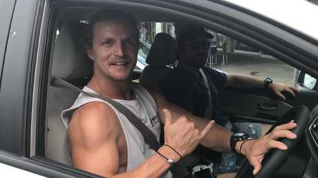 Former Australian rugby union player and The Bachelor, Nick Cummins (the Honey Badger), in his car in Cairns. PICTURE: PASCO ROGATO