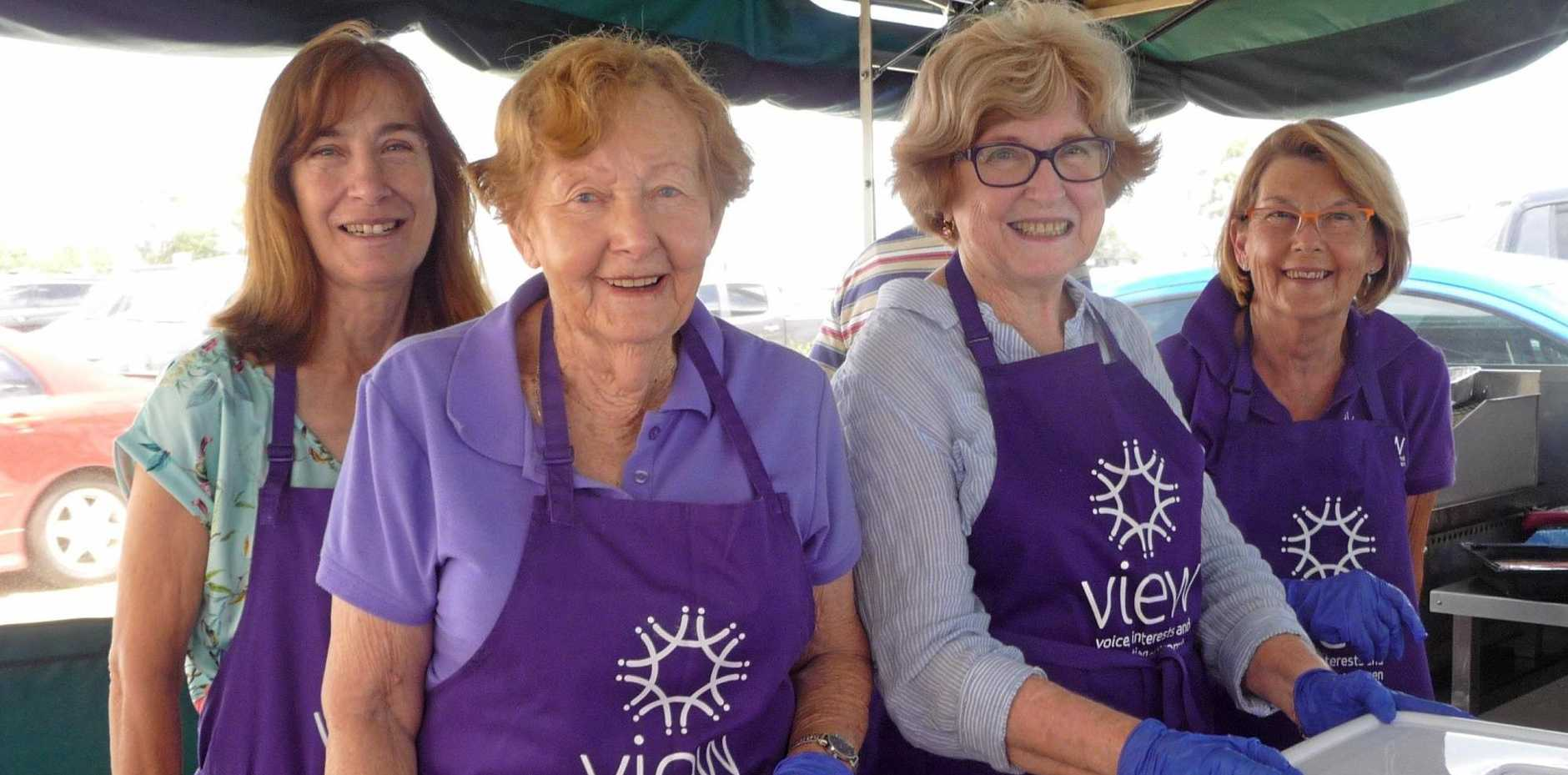 Arana VIEW Club recently held a very successful sausage sizzle at Bunnings Keperra. The ladies are (left to right) Barbara, Beverley, Heather and Cath.