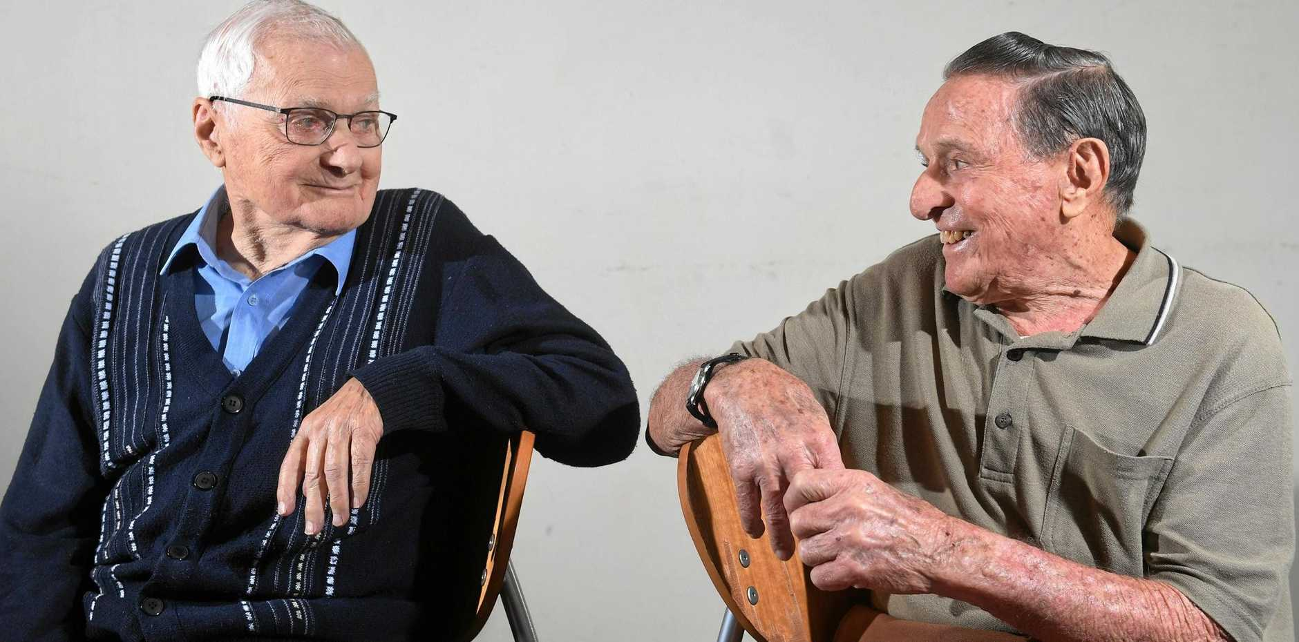 SURPRISE MEETING: The men who share the same birthday, Grant Virtue and Gerald Olivieri, both 90, met recently.
