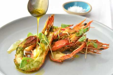 Ricky's Riverfront Restaurant and Bar in Noosa Heads. Roasted Mooloolaba king prawns, coriander, chilli and nori butter.