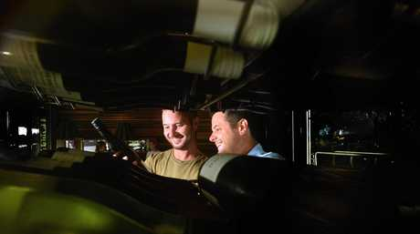 Ricky's Riverfront Restaurant and Bar in Noosa Heads. James Rennie and David Jouy discuss wine.
