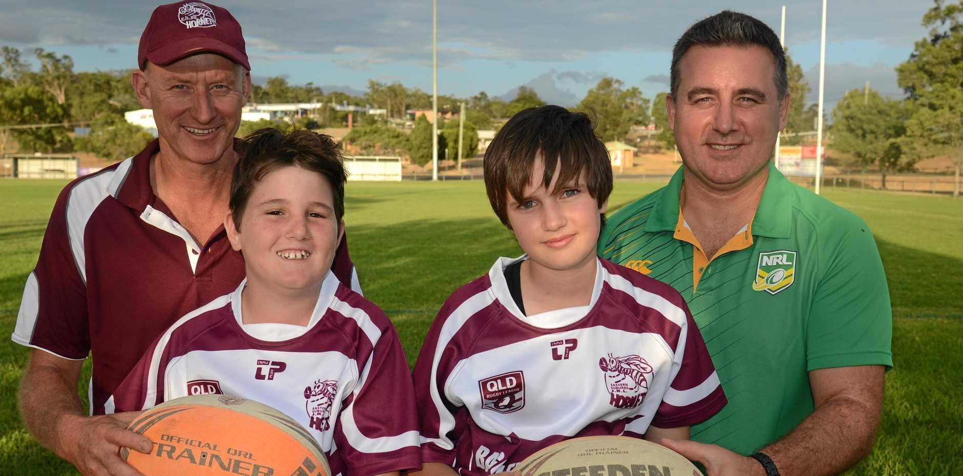 READY TO ROLL: Eastern Suburbs Junior Rugby League Club president Darren Hart, Jake Roser, Jorja Lowe and new Suburbs under-12 coach Jason Fairleigh.