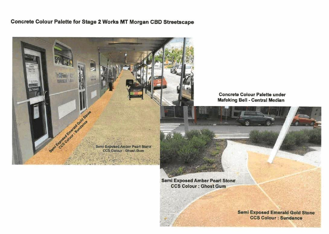 Design plans for Mount Morgan's footpath including ramps and handrails, furniture, bins and flower beds.