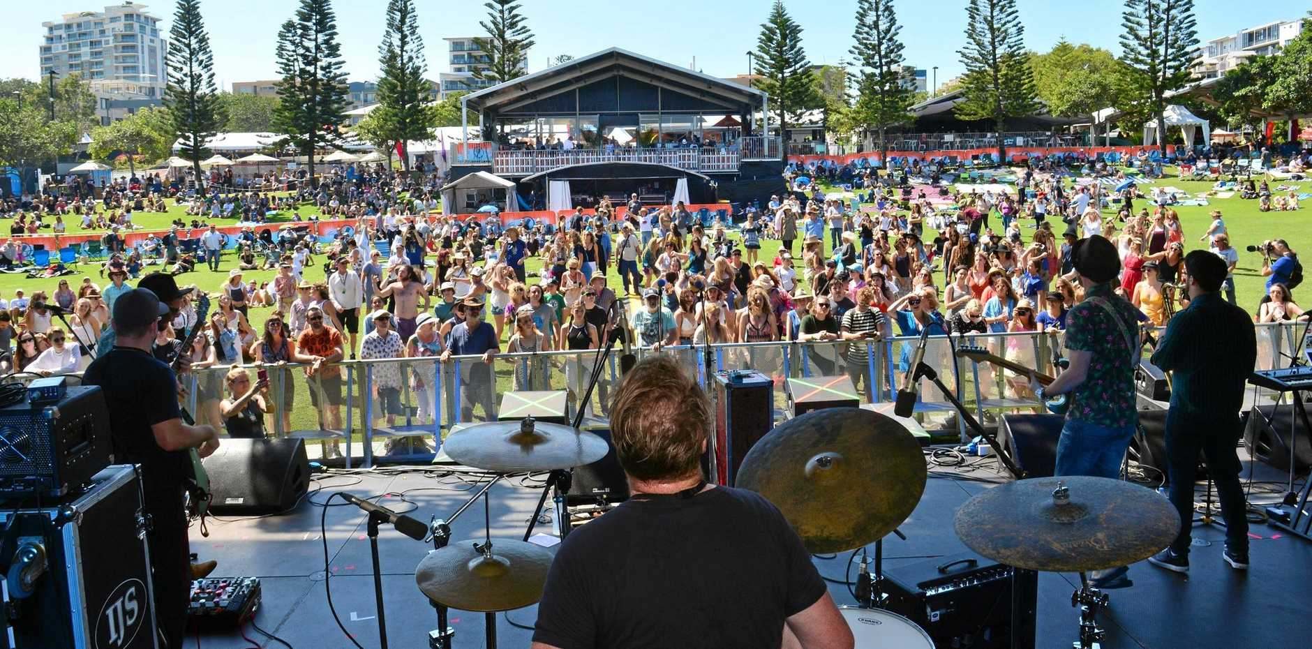 Cheap Fakes on stage at the 2018 Caloundra Music Festival that sold 15,031 tickets over four days.