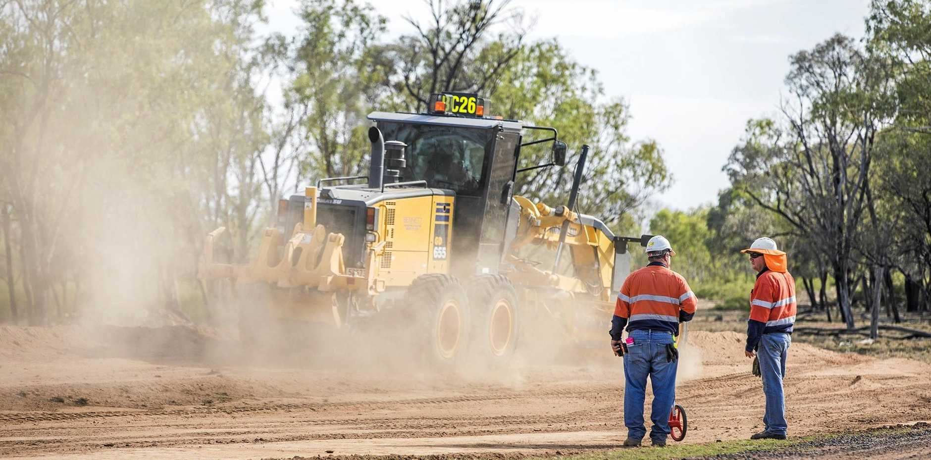 Work begins on the roads at the Carmichael Mine.