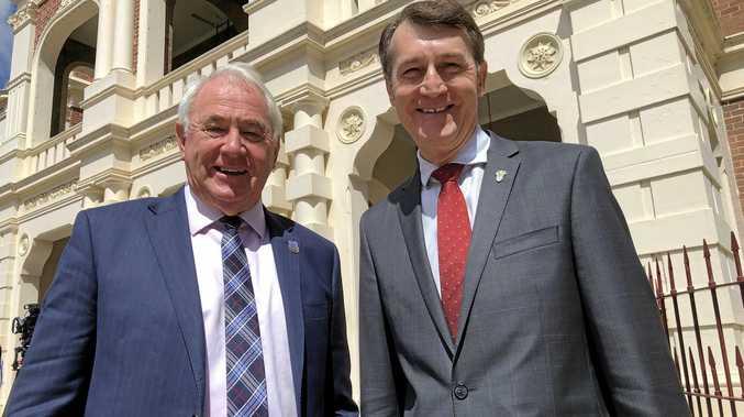 MEETING: Toowoomba Mayor Paul Antonio with Brisbane Lord Mayor Graham Quirk outside Toowoomba City Hall.