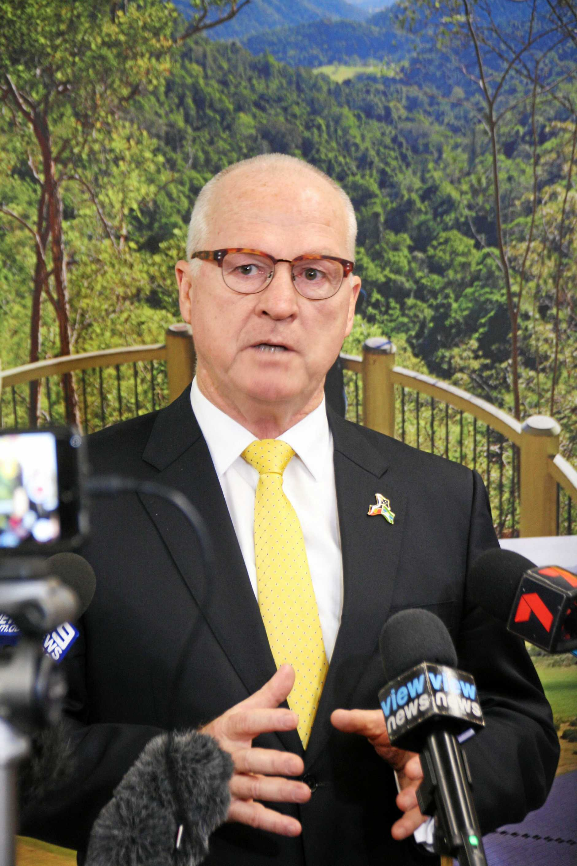 Sunshine Coast Mayor Mark Jamieson takes questions after his State of the Region address at the Sunshine Coast Health Institute auditorium.