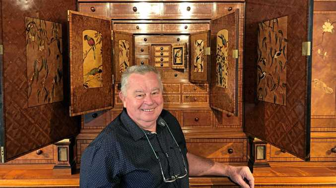 Geoff Hannah shows off The Hannah Cabinet to the spellbound public as part of a fundraising campaign to raise $1 million to