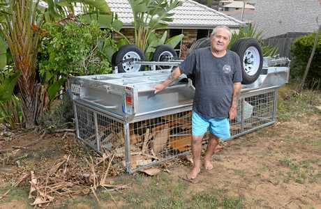 Manuel Ellul had his  new trailer overturned in his front yard in Brassall by would-be thieves.