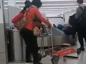 Woman's awkward airport gaffe goes viral