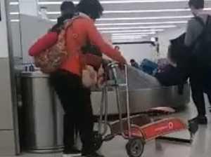 Woman's awkward airport gaffe goes viral
