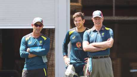 National selector Greg Chappell (right), pictured with Australian coach Justin Langer and captain Tim Paine, ahead of the fourth Test against India at the SCG. Picture: Brett Costello