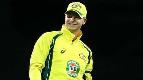 Steve Smith could be seriously hampered in the field in the World Cup. Picture: Gregg Porteous
