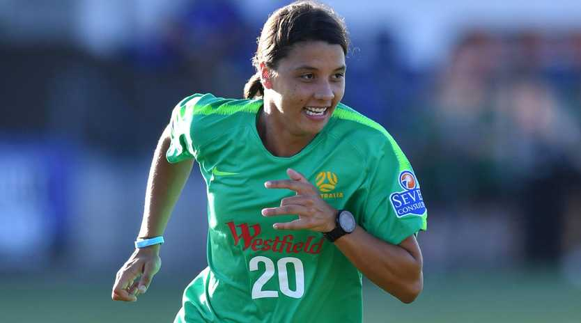 Sam Kerr will lead the Matildas at the World Cup. (AAP Image/Darren England)