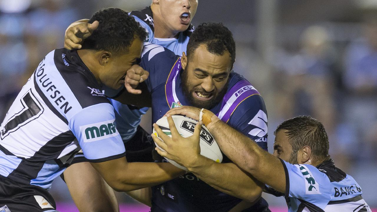 Sam Kasiano is reportedly being offered up by Melbourne Storm to ease salary cap problems. Picture: Craig Golding AAP