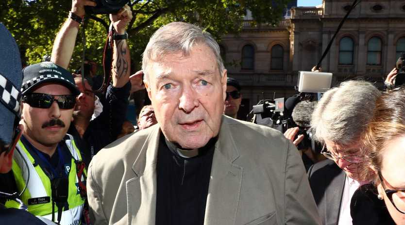 George Pell arriving at the County Court in Melbourne for sentencing. Picture: Aaron Francis/The Australian