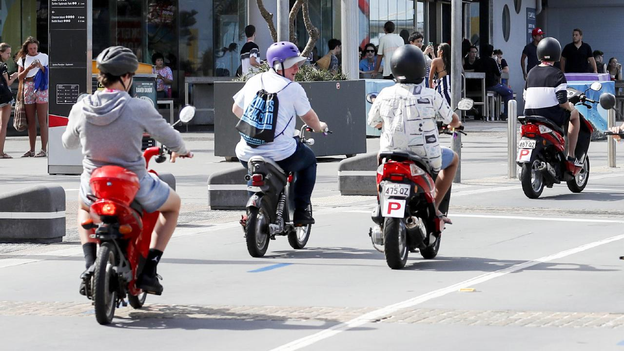 Schoolies riding scooters in Surfers Paradise. Picture: Tim Marsden