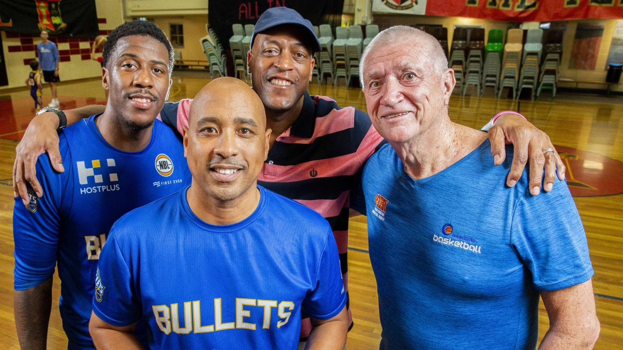 Lamar Patterson, C.J. Bruton, Leroy Loggins and Brian Kerle pose for a photograph at Brisbane Bullets training. Picture: Richard Walker/AAP