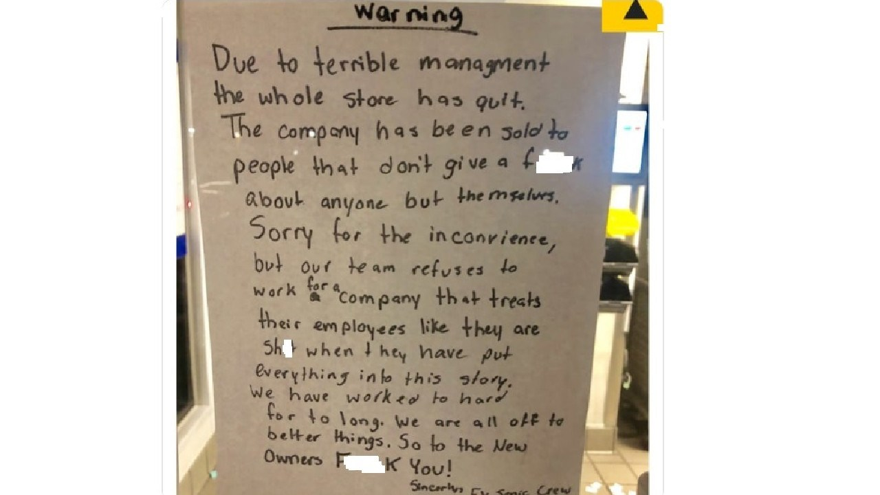The entire staff at a Sonic restaurant in the US has quit. Picture: Twitter @_ericblanc