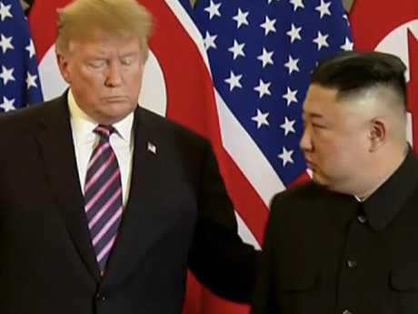 Donald Trump meeting Kim Jong-un in Hanoi.
