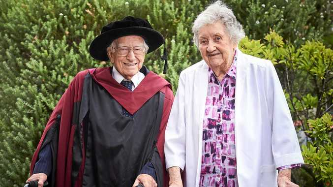 LIFELONG LEARNING: Australia's oldest PhD graduate, Curtin University's Dr David Bottomley AM with his wife, Anne.
