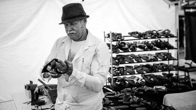 Ray Kelly of Nedz Sandals at Eumundi Markets.