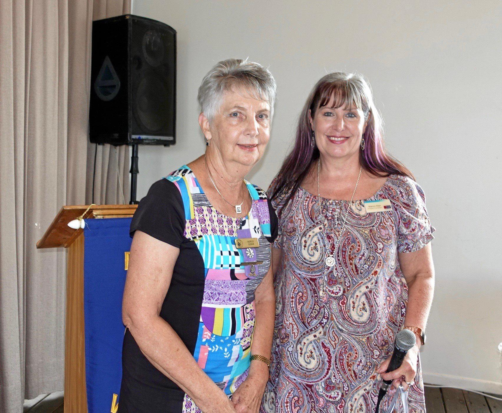 SUNSHINE SMILES: Buderim VIEW Club's Adele Leigh thanks the guest speaker Marion Allan, who is the Sunshine Coast program co-ordinator for Learning for Life for The Smith Family charity.