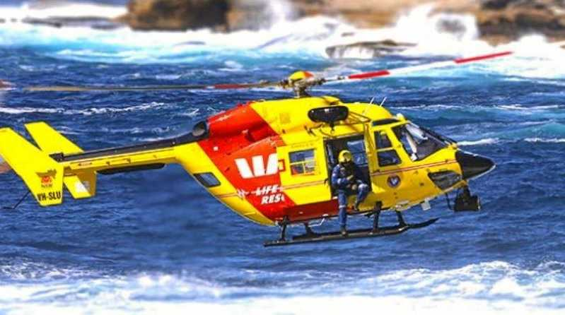 The Westpac helicopter commonly used in ocean search and rescue missions, owned by Surf Life Saving Australia.