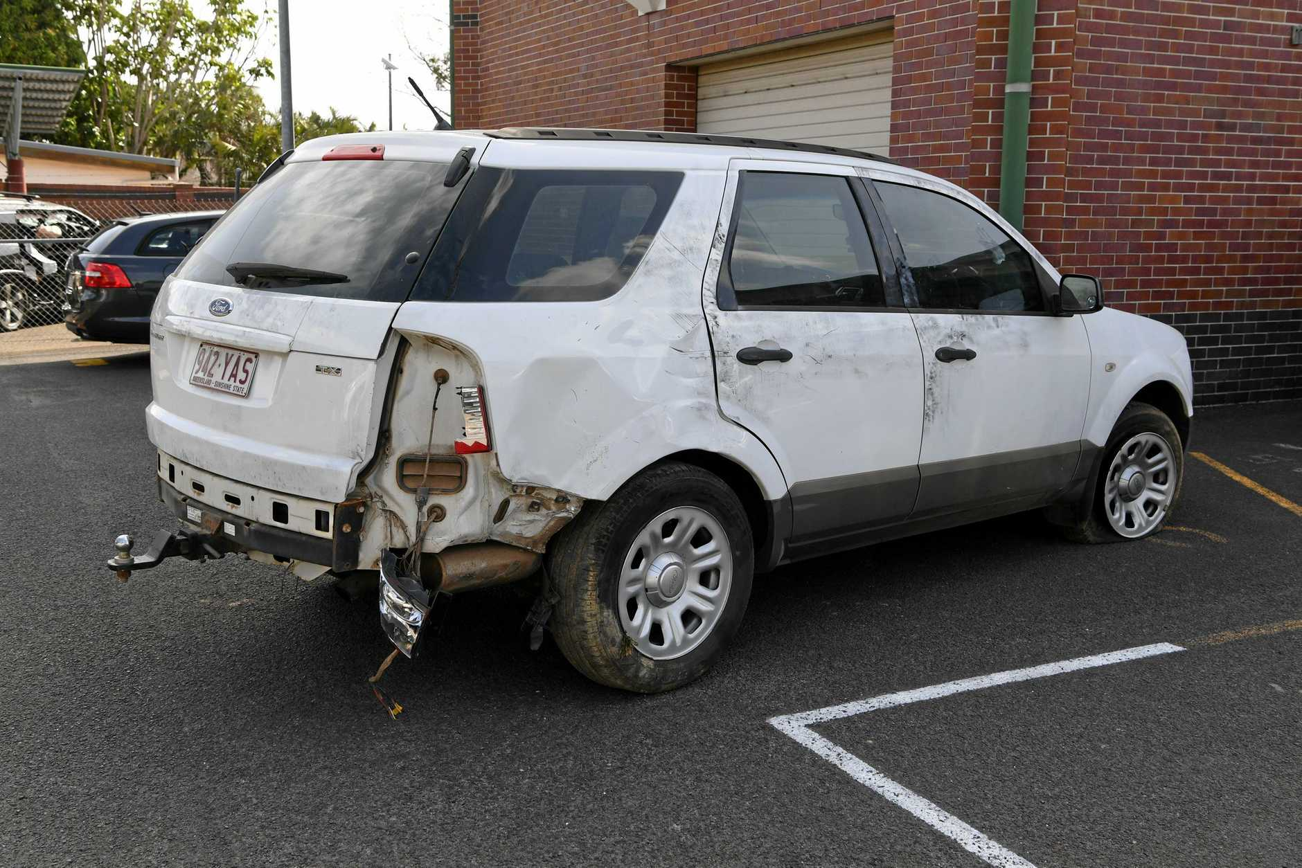 STOLEN: The recovered Ford Territory which had significant damage from the police chase.