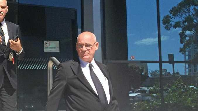 Richard John Bertrand (front) appeared in Maroochydore Magistrates Court this morning charged with misconduct of a corpse by interfering.