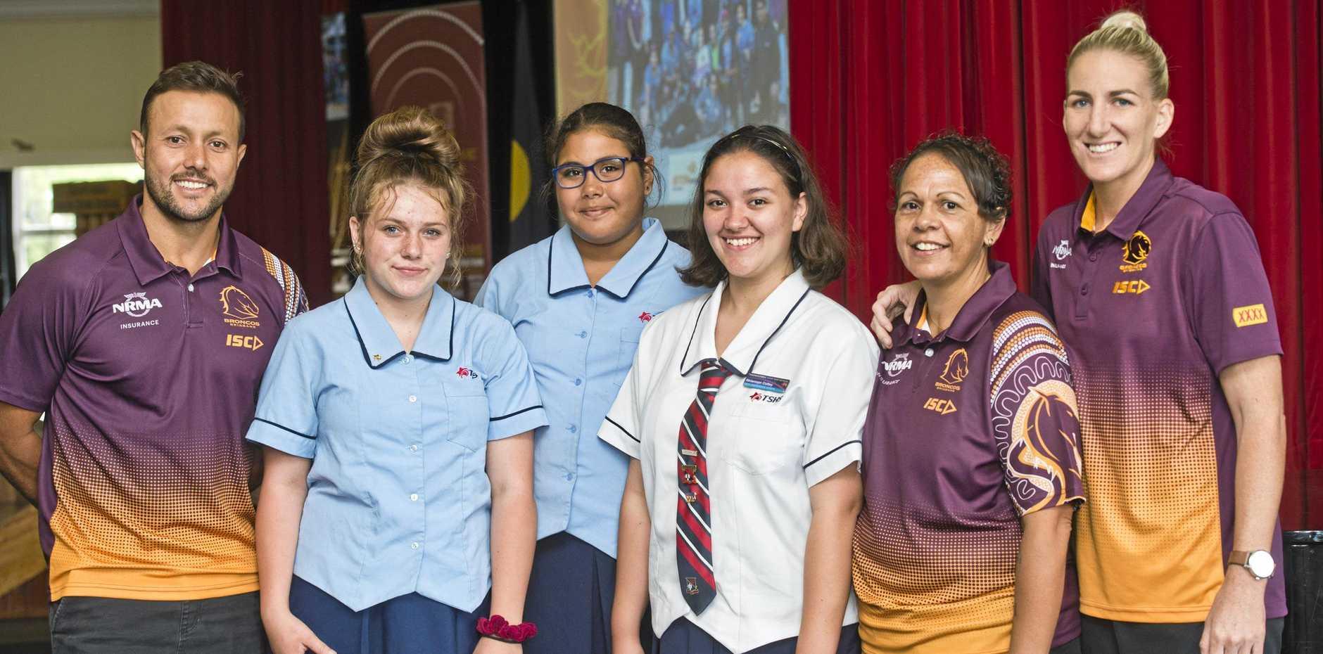 EDUCATIONAL PROGRAM: At the Beyond Broncos Toowoomba State High School program launch are (from left) Scott Prince, Imgale Tuesle, Kirra Gibbs-Hooper, Rhiannon Colley, Liz Wilson and Ali Brigginshaw.