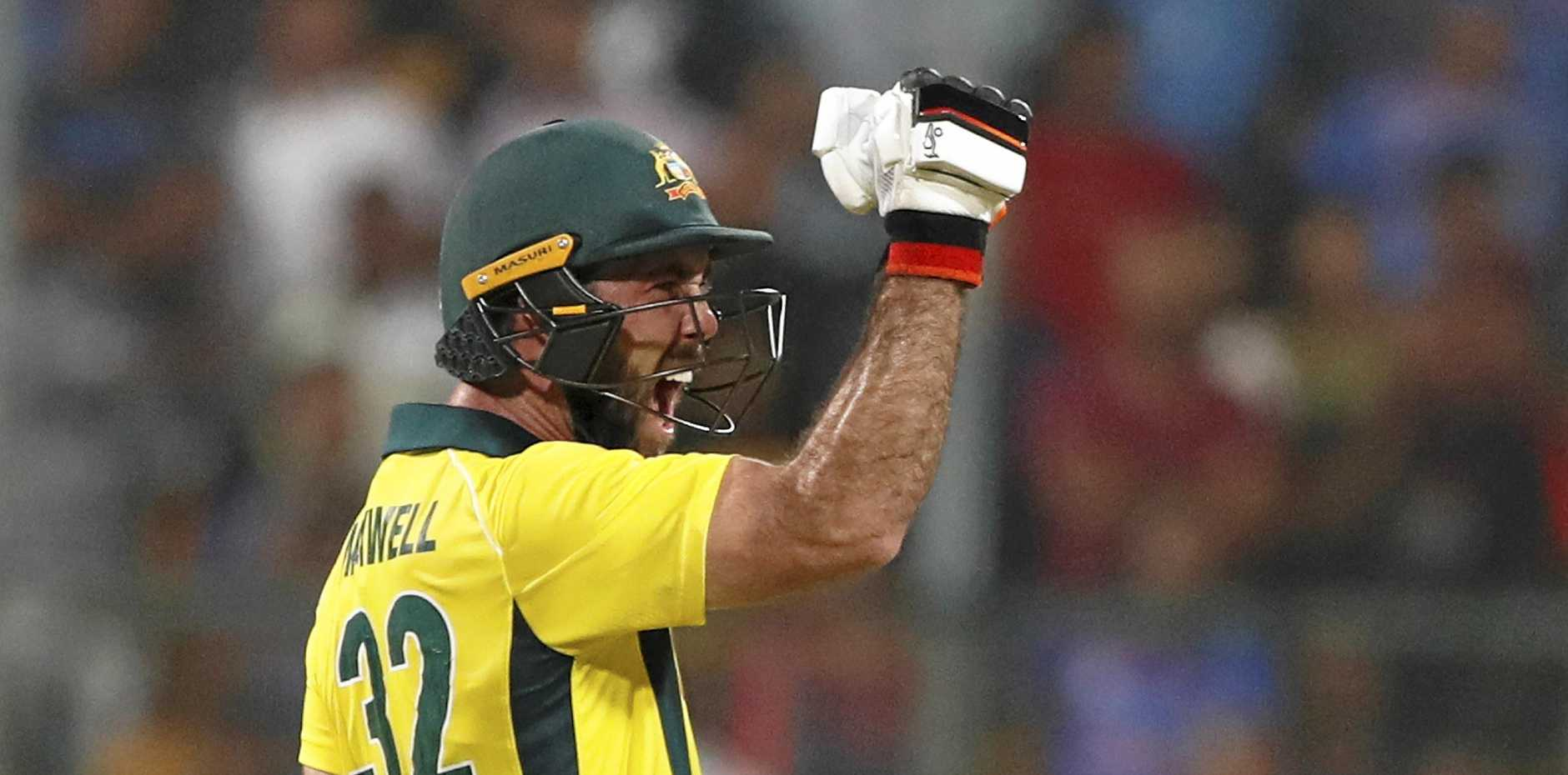 Australia's Glenn Maxwell reacts after scoring the winning run during the second T20 international cricket match between India and Australia in Bangalore, India, Wednesday, Feb. 27, 2019. (AP Photo/Aijaz Rahi)