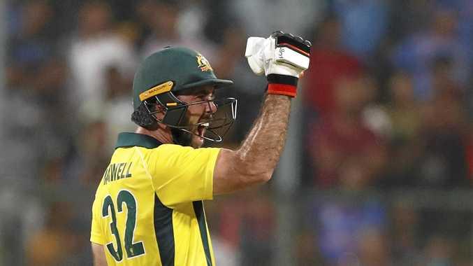 Australia's Glenn Maxwell reacts after scoring the winning run during the second T20 international cricket match between India and Australia in Bangalore, India, Wednesday, Feb. 27, 2019. (AP Photo/Aijaz Rahi)